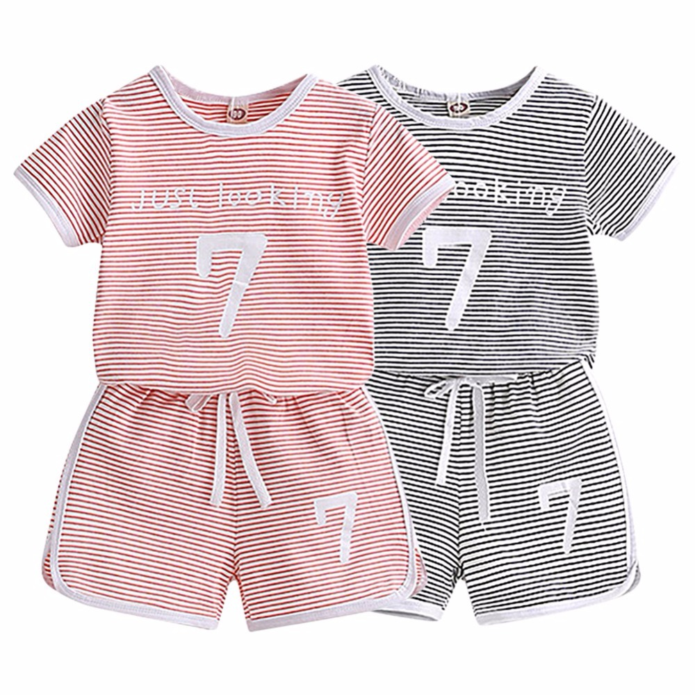 WEIXINBUY Kids Children Baby Boys Girls Summer Casual Striped Cotton Short Sleeve Shorts Pants Suit 2 pcs Sports Style Sets