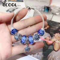 Jewelry Female Charm Fashion Silver 925 Original Bracelet, Suitable For Female Ocean Series Pentagon Blue Bracelet Jewelry Gift