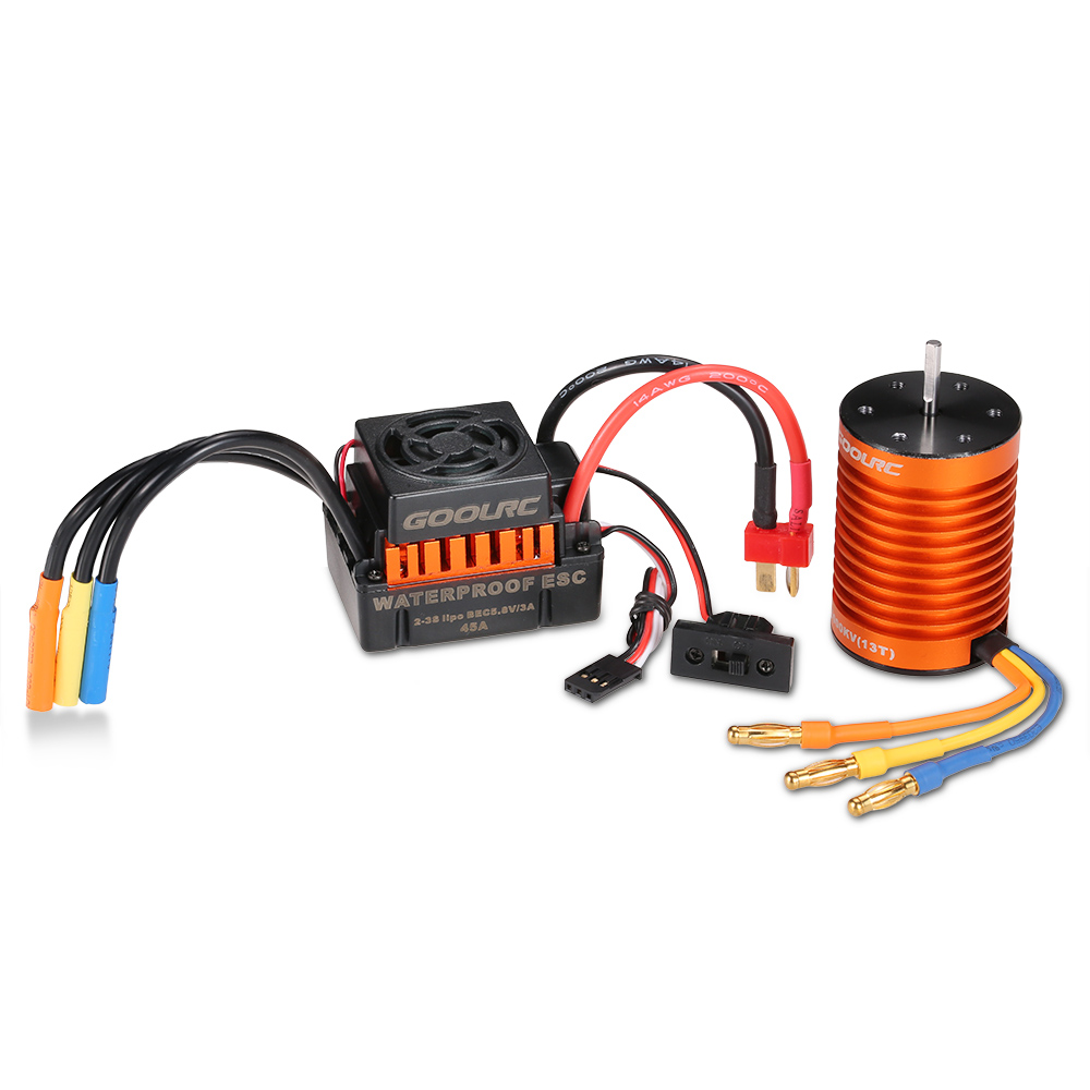 GoolRC Upgrade Waterproof F540 3000KV RC Brushless Motor with 45A ESC Combo Kit for RC Car