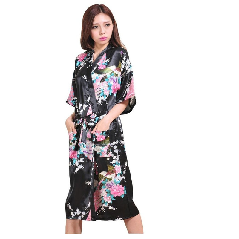 High Fashion Black Chinese Bride Wedding Robe Gown Women Silk Rayon Nightwear Sexy Kimono Bath Gown Size S M L XL XXL XXXL Z010