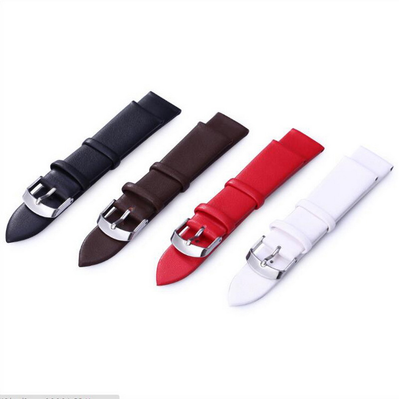 neway Leather Watch Band Wrist Strap 12 14 16 18 20 22mm Steel Buckle Replacement Bracelet Belt Black Brown Red White in Watchbands from Watches