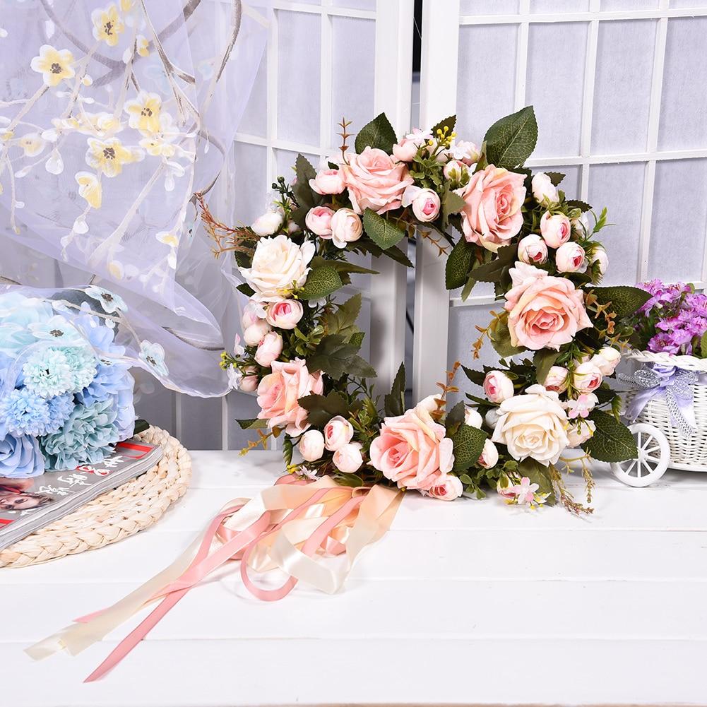 1 Pcs Bridal Wreath Artificial Flower Silk Wedding Rose Flowers Artificial  Spring Door Wreath Craft Decoration DIY Home Decor