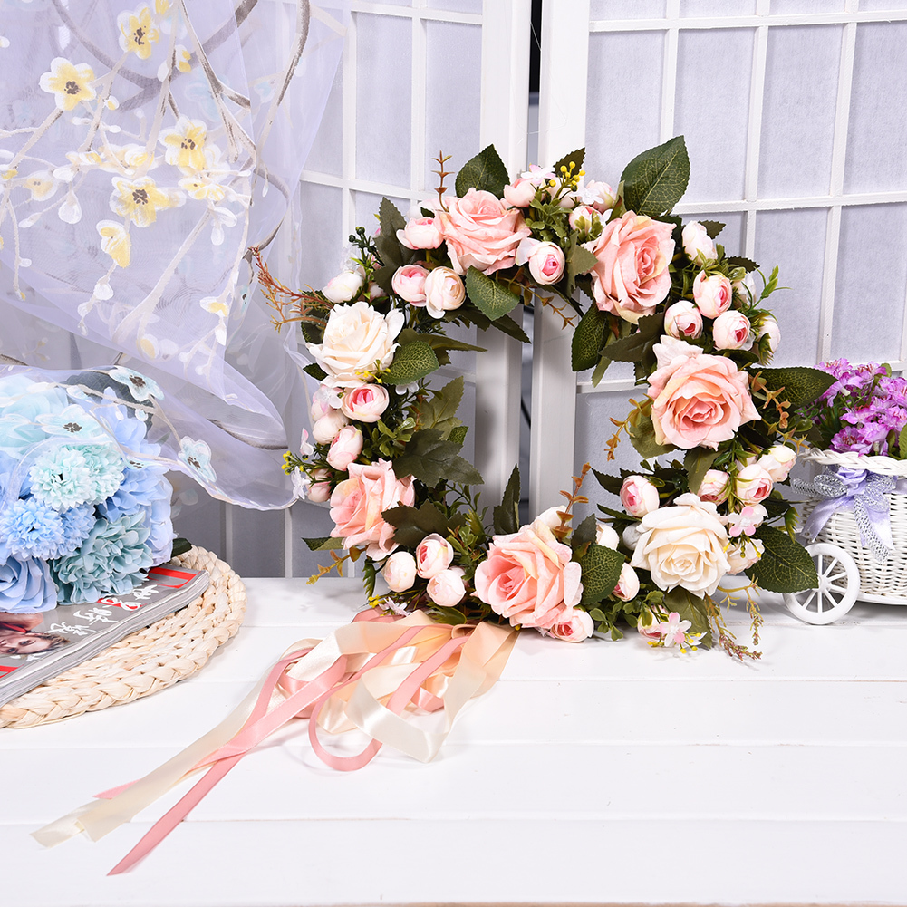 Popular rose spring flowers buy cheap rose spring flowers lots from 1 pcs bridal wreath artificial flower silk wedding rose flowers artificial spring door wreath craft decoration izmirmasajfo Choice Image