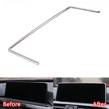 Фотография YAQUICKA Stainless Steel Car Dashboard GPS Navigation Frame Trim Styling For BMW 1/2/3/4 series 3GT F30 F31 F32 F34 F36 316i 320