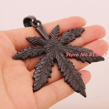 2.32″*2.75″ 31g High Quality Fashion 316L Stainless Steel Black Tone Big Maple Leaf Mens Womens Pendant Necklace Box Chain 23.6″