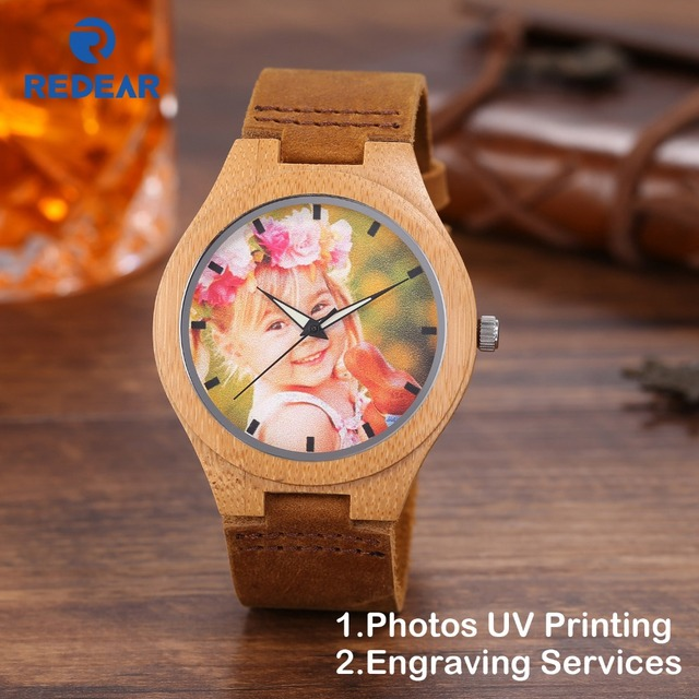 Creative Gift Wood Watch Men Women Photos UV Printing on Wooden Watch OEM Custom
