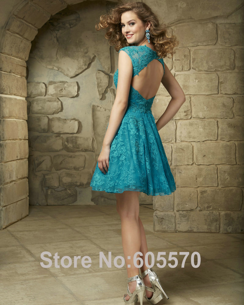 9bf0322e485 Turquoise Homecoming Dresses High Neck Style 9343 Lace Cocktail Dresses  Lilac Sleeveless Sweet 16 Birthday Dresses on Aliexpress.com