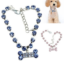 1pc New Crystal Diamond Bone Dog Necklace Rhinestone Pendant Pet Collar Jewelry For Photo Accessory
