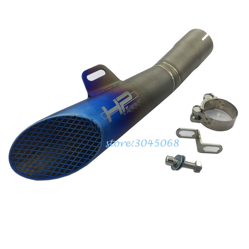 GP Universal Motorcyle Exhaust Pipe Escape Stainless Steel Laser Marking HP Moto Muffler With Mesh For Yamaha YZF R6 Ninja650