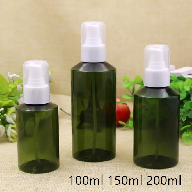 Free Shipping 100ml 150ml 200ml Empty Green Plastic Pump Packaging Bottle refillable Originales Empty Cosmetic Containers Retail