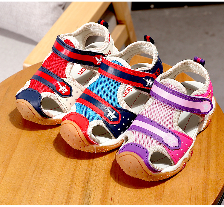2018 Brand Summer Beach Sandals Kids Sandals boys Leather Summer Shoes Casual Sport Sandal For Little Boys and Girls Mixed color
