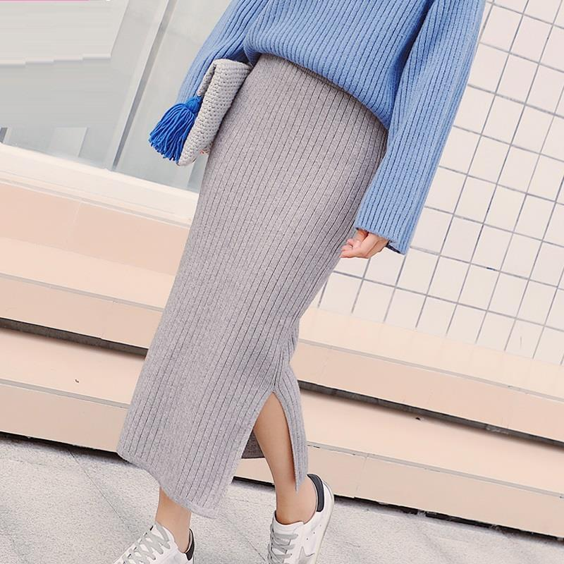 Clothing Festival Ropa Style Korean Women Autumn Invierno Winter High Waist Pencil Wrap Sexy Rok Knitwear Largas Long Skirt
