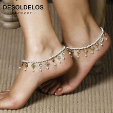 Summer New Arrival Hot Bead Bracelet On The Leg Imitation Pearl Fashion Crystal Tassels Elastic Ankle Chain Women
