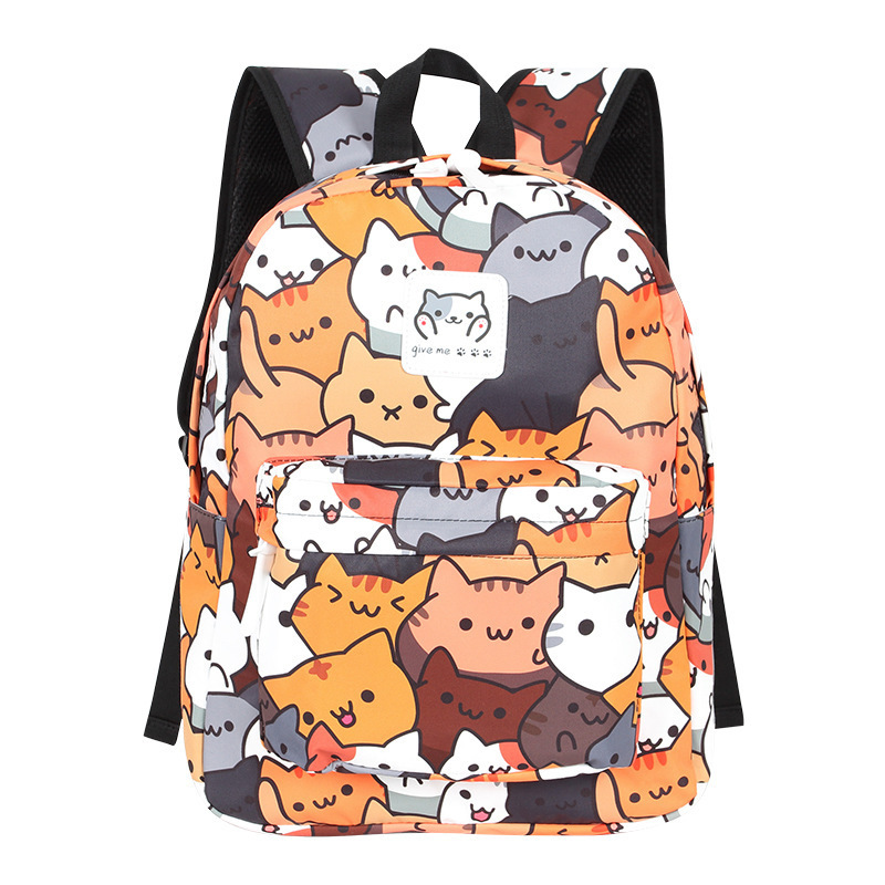 Anime Neko Atsume Women Backpack For Girls Boys Cute Cat Backyard Travel Rucksack Cute Cat Student Backpacks