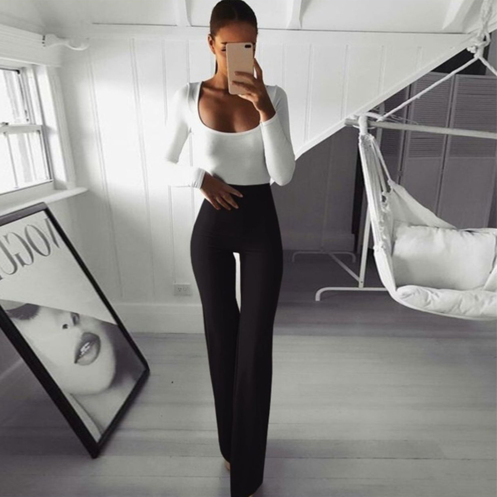 Sexy Women High Waist Long Pants OL Ladies Career Solid Palazzo Slim Flare Wide Leg Trousers Female Harem Pants 5