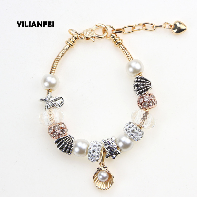 YILIANFEI Adjustable Heart pendant Fashion cute Charm Pandora Bracelets & Bangles with aureate Crystal Beads For Women BT0181