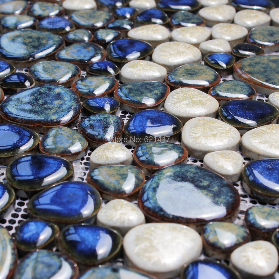 dark brown ceramic porcelain mosaic backsplash HMCM1015 pebble ...