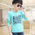 O menino desgaste de manga comprida T-shirt da primavera crianças de algodão casaco camisola das crianças Han backing