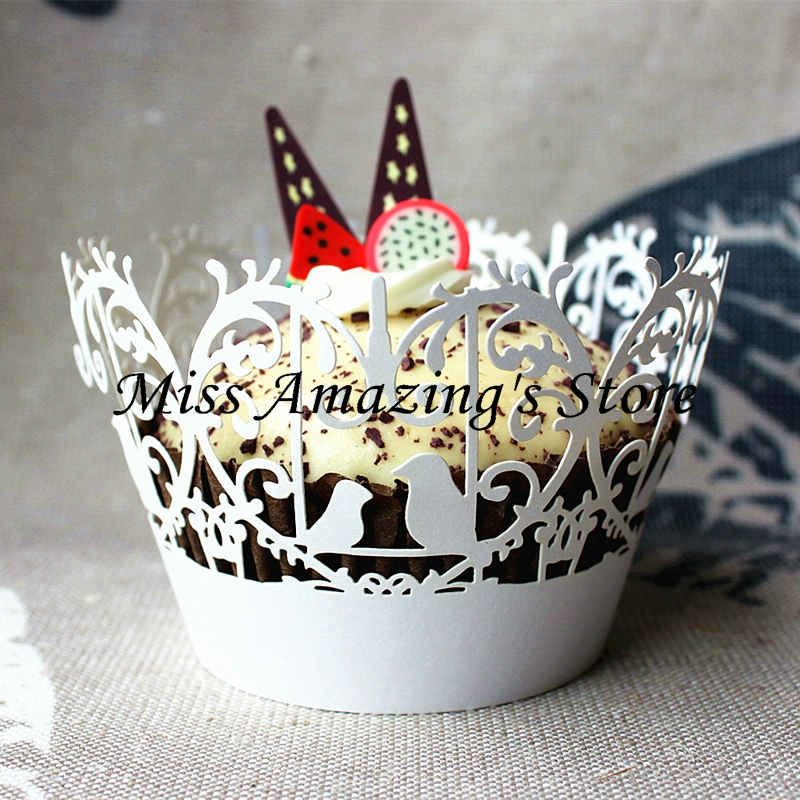 12pcs Laser Cut Love Bird Filigree Vine Cupcake Wrapper Liner Baking Cup Muffin Case Collar Wedding Christmas Party Decoration