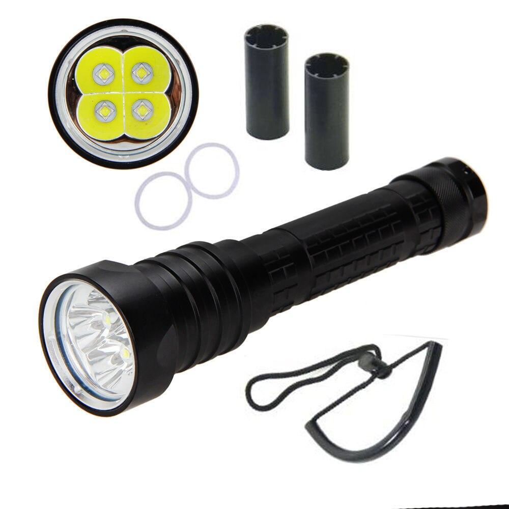 Diving led flashlight 4 CREE XML2 DX4 bright 8000 Lumens black aluminum support 18650/26650 waterproof 100m led torch flashlight 10000 lumens super bright led flashlight torch aluminum waterproof 7 x cree xml t6 led flash light