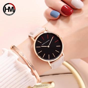 36mm Dial Women Watches Luxury Brand Japan Quartz Simple Leather Female Wristwatches Rose Gold Ladies Clock Relogio Feminino New