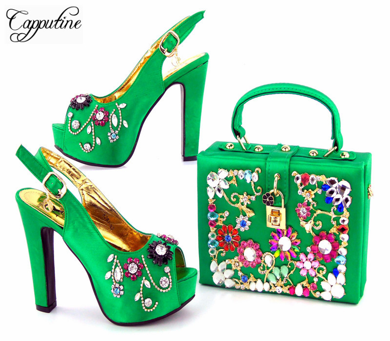Capputine 2017 High Quality European Ladies Shoes And Bag Set Italian Rhinestone High Heels Woman Shoes And Bag Set For Party