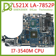 KEFU QBL00 LA-7851P motherboard FOR Dell XPS 15 L521X Laptop Motherboard I7-3540M DDR3L 4 video chips Fully Tested 100% work цена