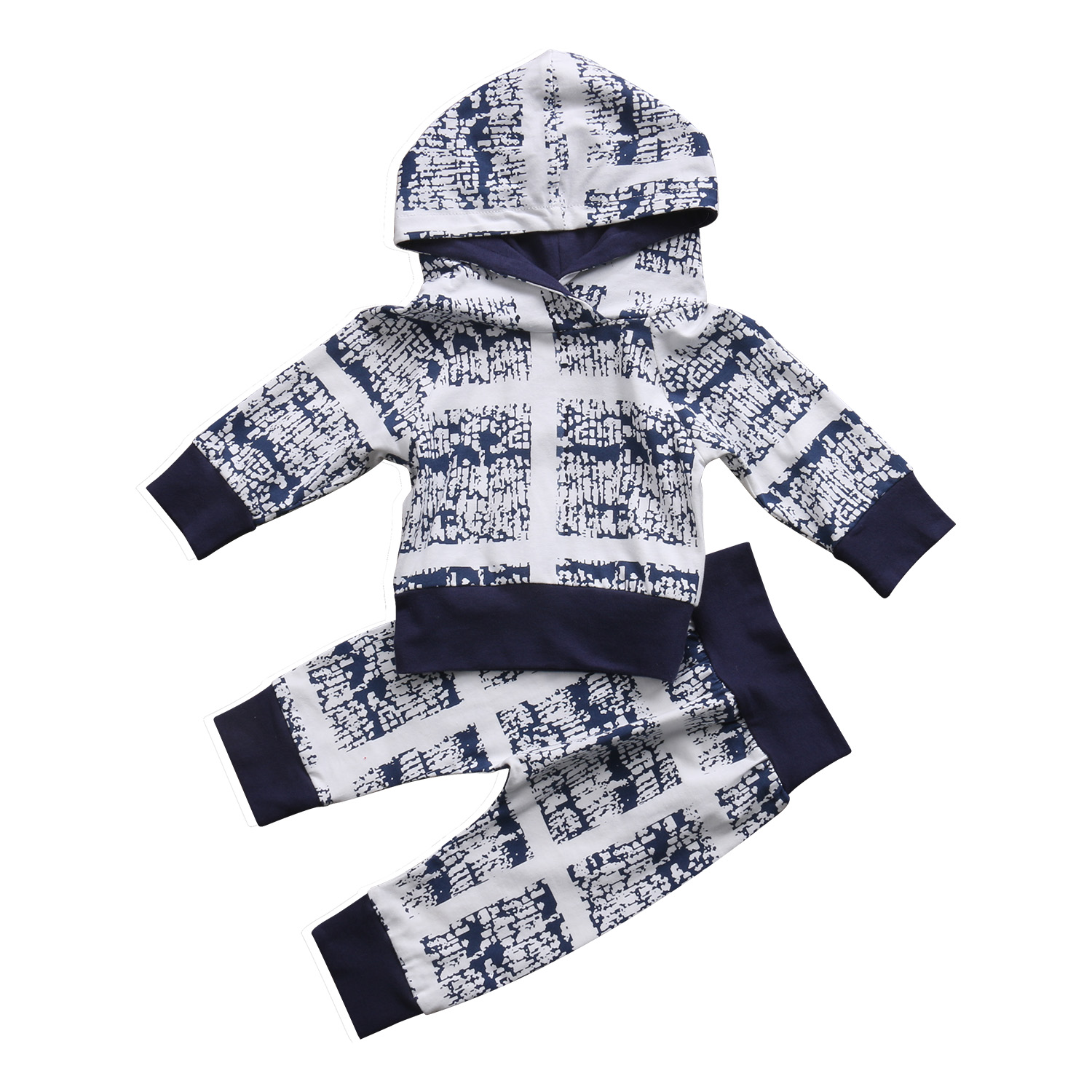 Geometric Pattern Toddler Newborn Baby Boy Outfits Clothes Hooded Top+Long Pants 2PCS Autumn Winter Children Clothing Set Cotton