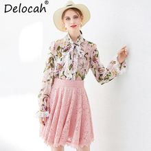 Delocah Women Spring Suits Runway Fashion Casual Bow Tie Print Silk Top+Elegant Hollow Out Collect Waist Skirt Two Pieces Set цена
