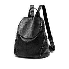 Кожаные рюкзаки женские мини небольшой рюкзак женский сумку Мода известная марка черный мягкий для девочек школьные сумки на плечо коллаж путешествия