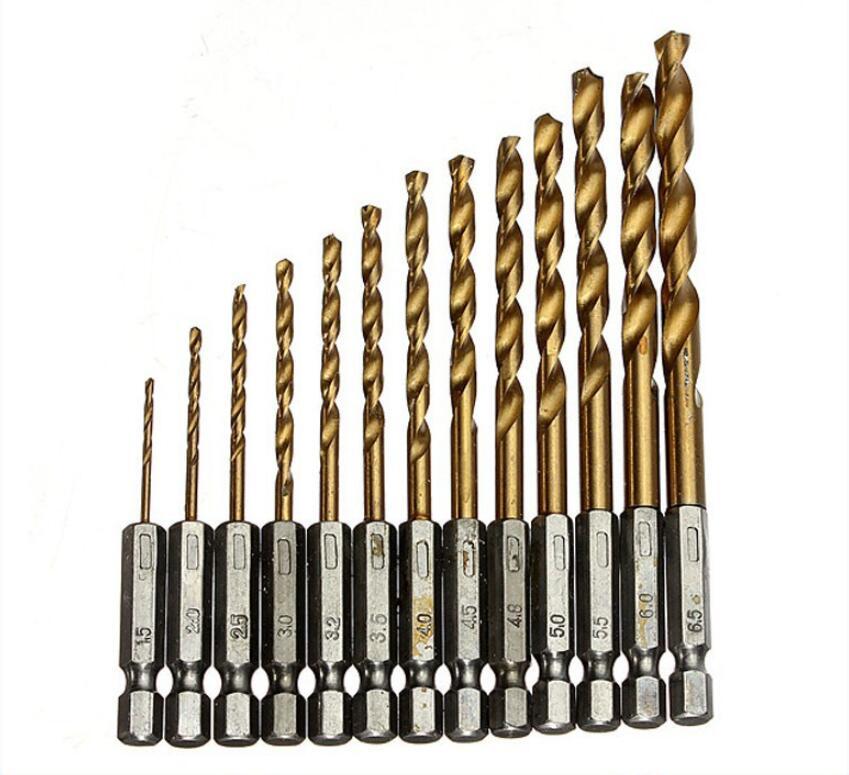 13pcs/lot Twist Drill Bit HSS Titanium Coated Drill Bit Set 1/4 Hex Shank 1.5-6.5mm,quick Change Metal drilling Tool Woodworking hot 50pcs set twist drill bit set saw set hss high steel titanium coated drill woodworking wood tool 1 1 5 2 2 5 3mm for metal