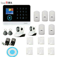 SmartYIBA GSM Alarm System 2 IP Camera Home Security Alarm Wireless Wifi Residential Alarm Smartphone Apps Control Android IOS