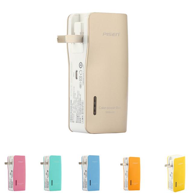 Pisen 5000 mah powerbank banco de la energía banco de la batería externa cargador de batería con el enchufe de ca plegable 1a 2a para smartphone pad iphone
