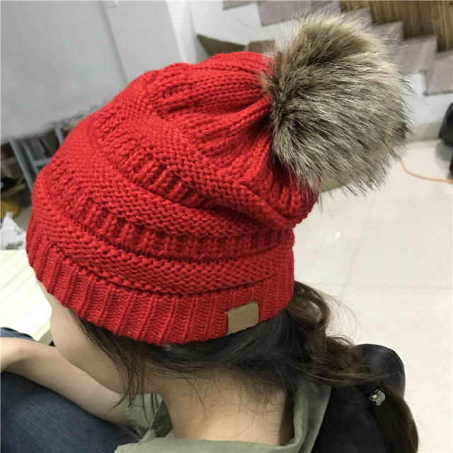 bc272e767474f Woman Winter Hat Beanie C Faux Fur Pom Pom Ball For Hats Knitted Cap Skully  Warm