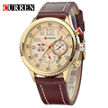 CURREN2016 New Genuine Leather Strap Ouro Relógio Negócio Relógio de Quartzo Relógio Do Esporte Dos Homens Relógio Marca de Luxo relogio masculino 8179