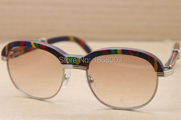 4e14268f275 ... Cartier 1116443 Peacock Wood Sunglasses in Silver Brown 2016NEW (1) ...