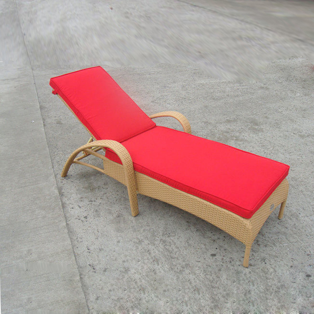 Resin Wicker Chaise Lounge Foldable Cane Beach Lounge Chair