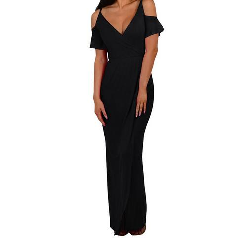 Maxi Long Dress Women sexy Short Sleeve V Neck Cold Shoulder Dresses Split Sexy party Dress Vestidos WS1111E