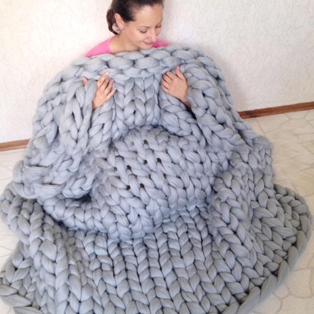 Warm Wool Yarn Handmade Chunky Knit Blanket Hoom Children Sofa Bed ...