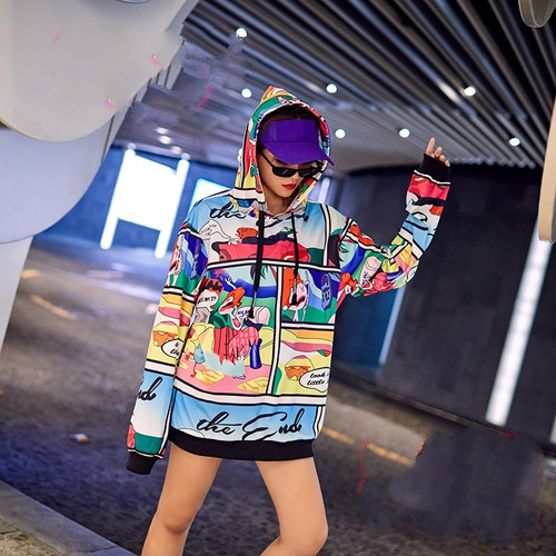 Autumn European Version Cartoon Printed Women Clothes The 2018 New Style Winter Personality Hat Female Fashion Loose Sweatshirts