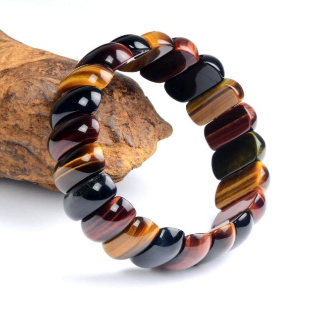 BOEYCJR אדום צהוב כחול עיני נמר טבעי אבן חרוזים צמידים & צמידים בעבודת יד תכשיטי אנרגיה צמיד לגברים 2019