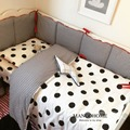 3pcs/set Baby bedding set baby crib bedding set bumper Black Dot and Plaid Stripe design 100% cotton