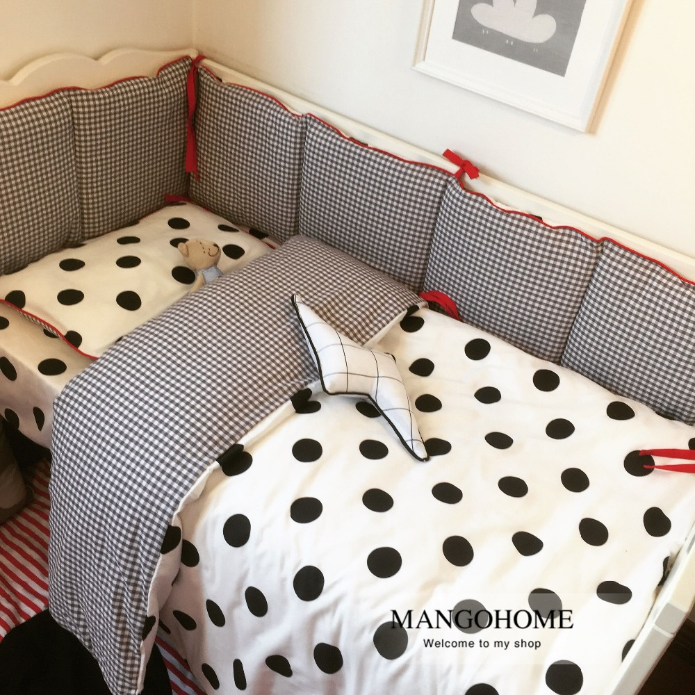 Baby bed sheet pattern - 3pcs Set Baby Bedding Set Baby Crib Bedding Set Bumper Black Dot And Plaid Stripe Design 100 Cotton