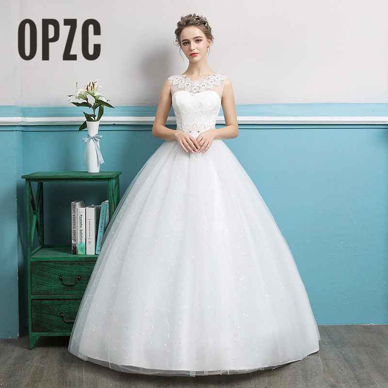 OPZC New Arrival 2018 Illusion Queen Ball Gown Crystal Pattern ...