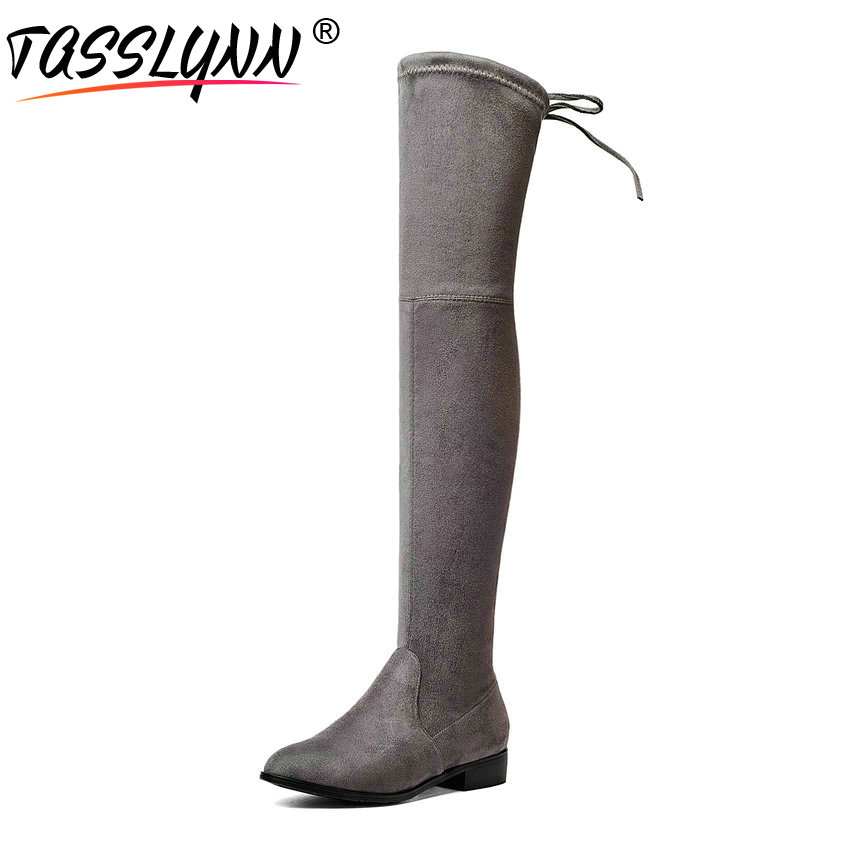 TASSLYNN 2018 Women Boots Low Heels Flock Black Over The Knee Boots Winter Long Boots Square Heels Pointed Toe Women Shoes 34-43