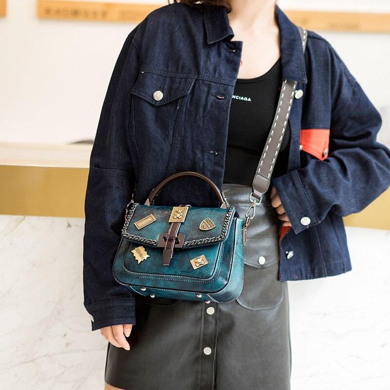 Haolainu 2018 Vintage femmes sac à bandoulière petit rabat dames sac à main chaînes femmes Messenger sac carré paquet sacs à bandoulière