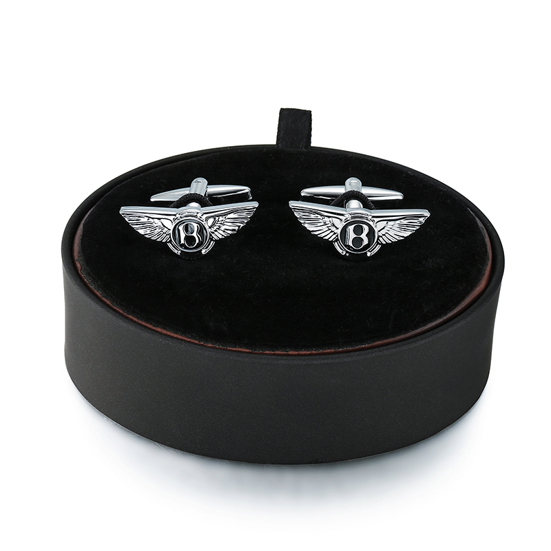DY A set of high-end luxury brand Bentley car logo Cufflinks black leather box men French shirt Cufflinks box set free shipping