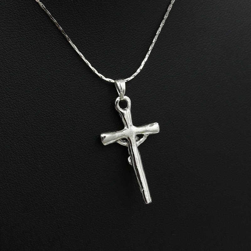 Mạ bạc Chúa Giêsu Thánh Dây Chuyền Mặt Dây Chuyền Phụ Nữ Người Đàn Ông Xương Đòn Liên Kết Chuỗi Quyến Rũ Tuyên Bố Choker Thời Trang Trang Sức Phụ Kiện