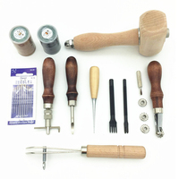 Hot!!! 11pcs Leather Craft Tools Kit Punch Stitching Sewing Leather Tools DIY Stamp Hand Gift Home Handwork Accessories