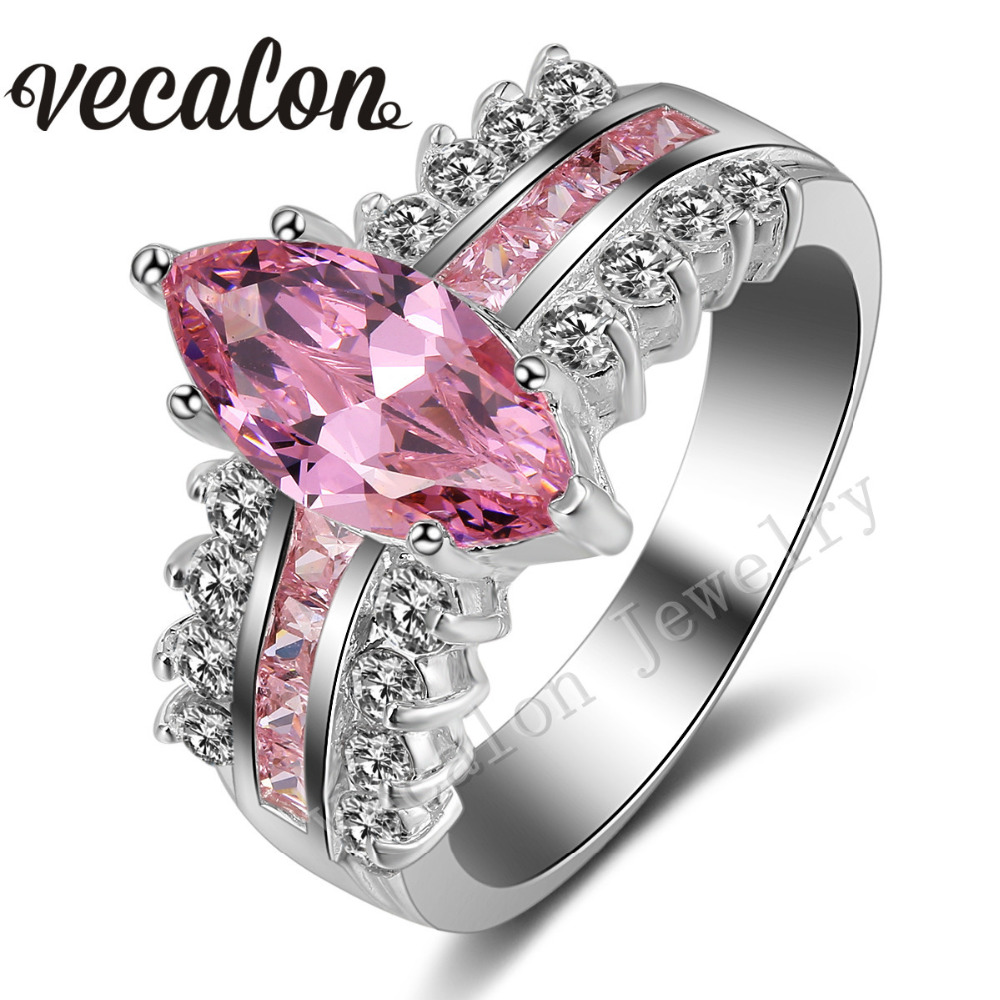 Vecalon Engagement Wedding Ring Set For Women Marquise Cut 5ct Pink Aaaaa Zircon Cz 925 Sterling Silver Female Band In Rings From Jewelry